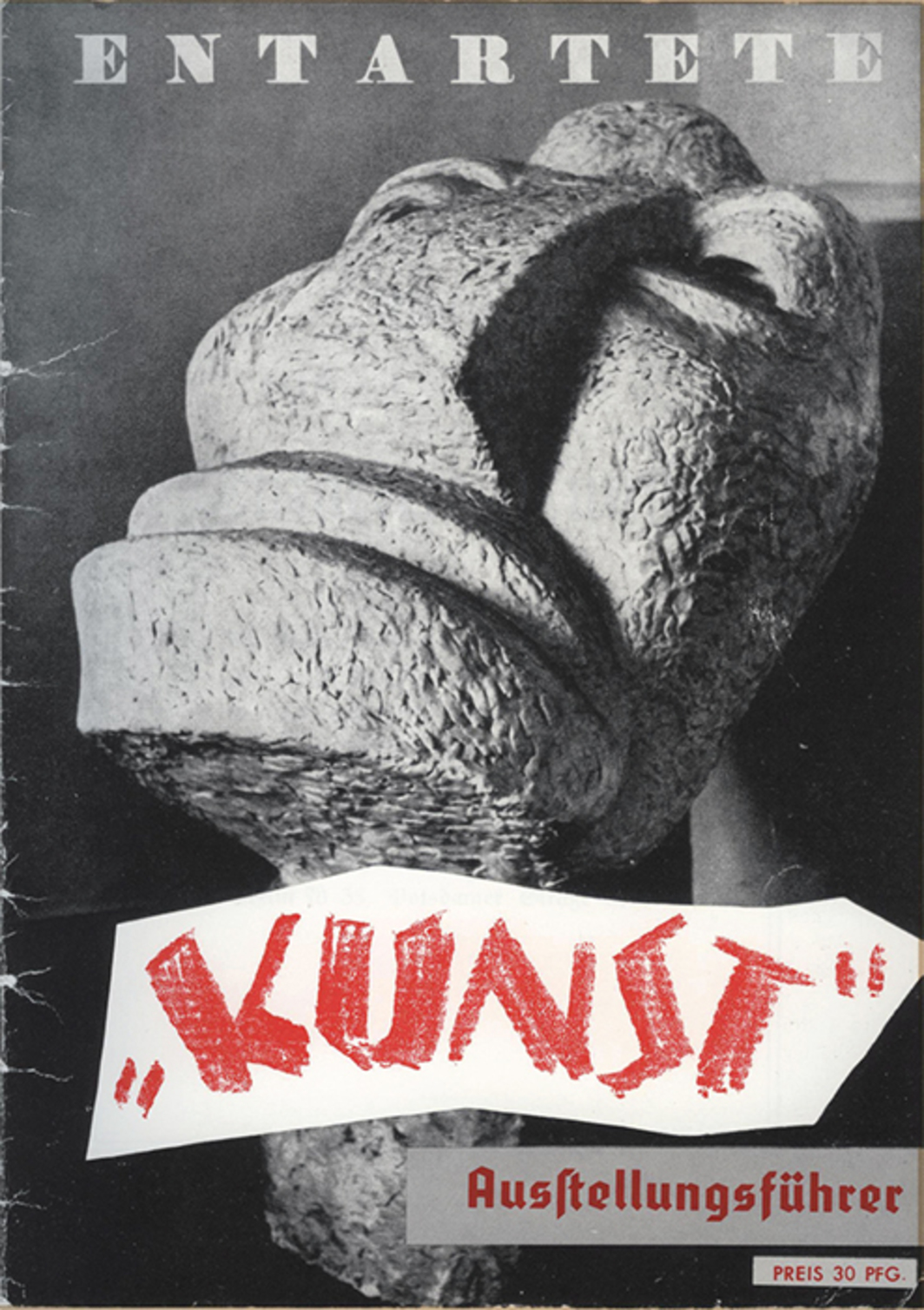 "Cover of the exhibition catalogue for ""Entartete Kunst"" (Degenerate Art), 1937. Otto Freundlich, Großer Kopf (Large Head), 1912."