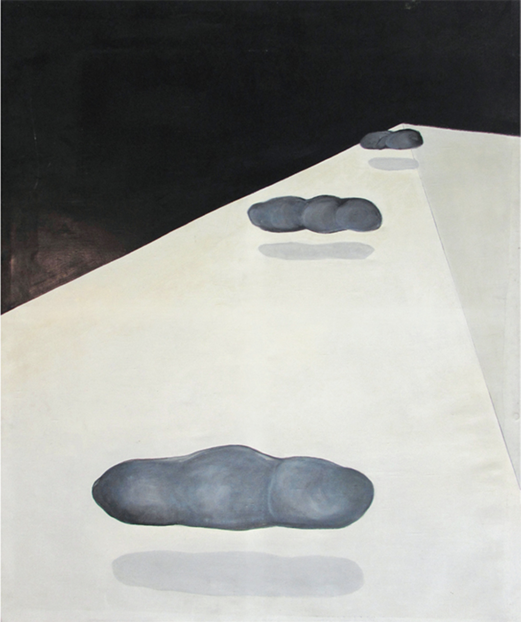 "Marina Abramović, Clouds in the Shadow, 1969, charcoal on paper mounted on oil on canvas, 69 3/4 × 57 1/2""."