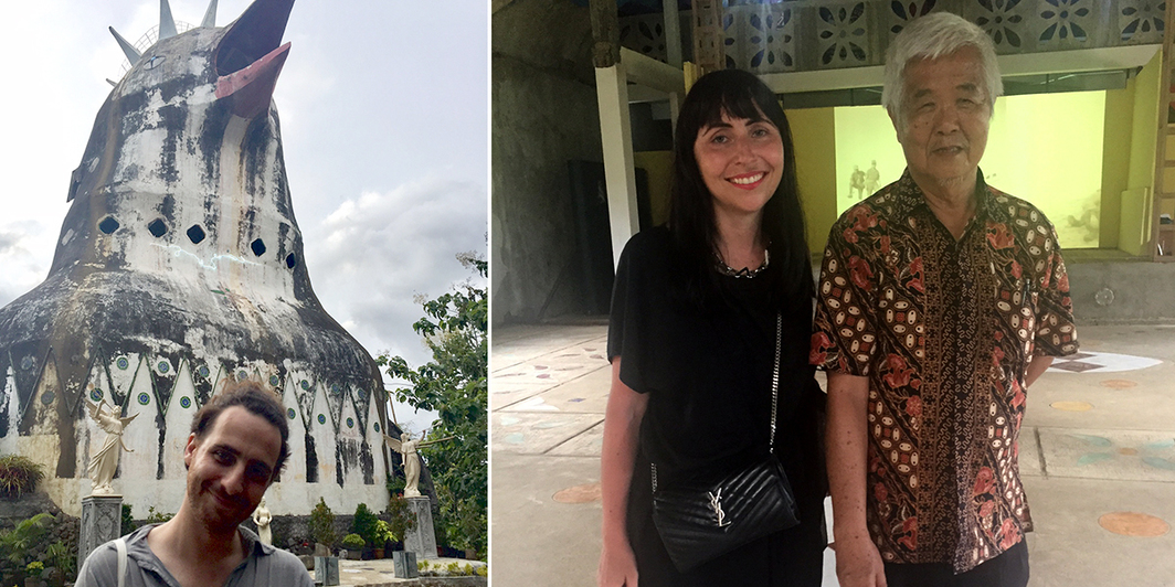 Left: Artist and Lucie Fontaine's employee Marco Cassani in front of Rumah Doa Bagi Semua Bangsa/The House of Prayer for All Nations (Chicken Church). Right: Artist Agnieszka Kurant and Daniel Alamsyah, founder of The House of Prayer for All Nations (Chicken Church). (All photos: Cristina Sanchez-Kozyreva)
