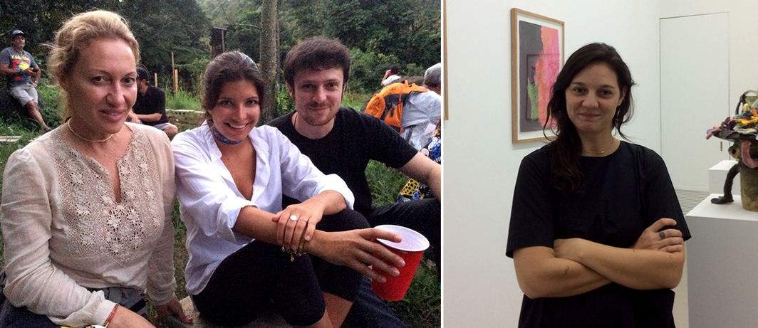 Left:  MoMA PS1 trustee Diana Widmaier Picasso, curator Roya Sachs, and Vito Leccese. Right: Dealer Agustina Ferreyra.