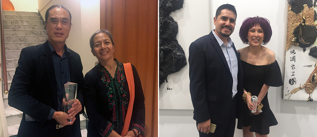 Left: Artists Aye Ko and Arahmaiani. Right: Advisor Pablo Espinel Rudolf and dealer Pearl Lam. (All photos: Cristina Sanchez-Kozyreva)