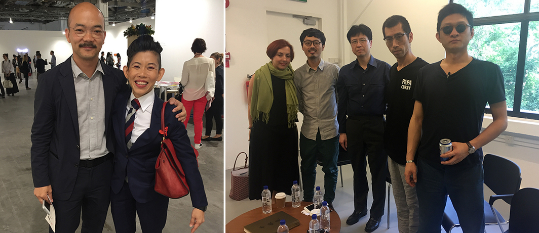 Left: MACAN's Aaron Seeto and curator Joyce Toh. Right: Curator Biljana Ciric, artist Robert Zhao, collector Hallam Chow, and artist duo Birdhead (Songtao and Jiweiyu).