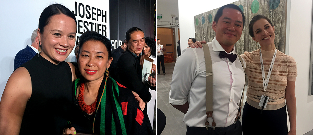 Left: The Factory Contemporary Art Centre's Zoe Butt and artist Chaw Ei Thein. Right: Curator Louis Ho and dealer Faina Derman.