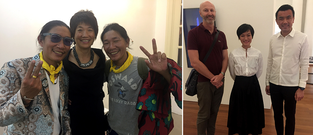 Left: Dealer Angie Chan with the Le Brothers. Right: National Gallery Singapore's Russel Storer and Eugene Tan with dealer Lorraine Malingue.