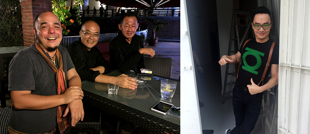 Left: Artists Carlos Celdran and Jimmy Ong with curator Enin Supriyanto. Right: Artist Jason Wee.