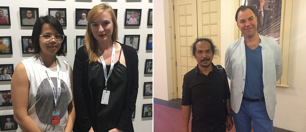 Left: Artist Emily Phyo and Myanmar/art Nathalie Johnston. Right: Artist Entang Wiharso and dealer Matthias Arndt.