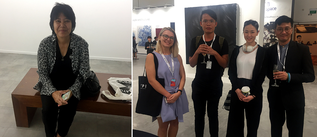 Left: Lawangwangi chief director and collector Aan Andonowati. Right: PR agent Diana Babei with artists Bruce Quek and Xue Mu and dealer Joseph Ng.