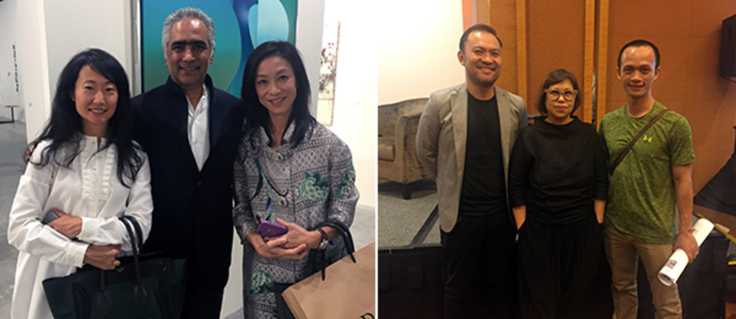 Left: Collector Kaori Zage, dealer Sundaram Tagore, and Rebecca Woo Dwan. Right: Collector Disaphol Chansiri, curator Gridthiya Gaweewong, and artist Pham Huy Thong.