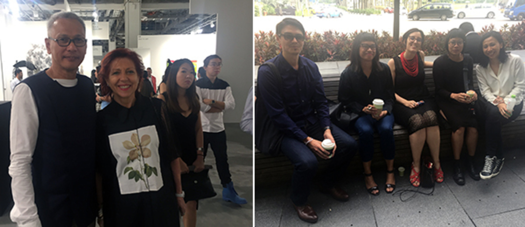 Left: Collector Wayu Wihono and dealer Silvana Ancellotti-Diaz. Right: Curators David Teh, Siddharta Perez, arts manager Stefania Mangano, curator Grace Samboh, and collector Natasha Sidharta.
