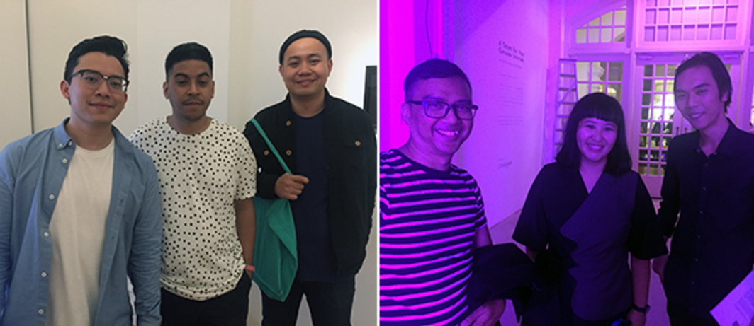 Left: Dealer Junior Tirtadji with Tromarama artists Ruddy Hatumena and Herbert Hans. Right: Curator Khairuddin Hori and artists Angie Seah and Ruben Pang.