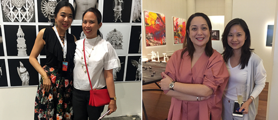 Left: Dealer Lim Wei-Ling and collector Lourdes Samson. Right: Dealers Rachel Rillo and Stephanie Fong.