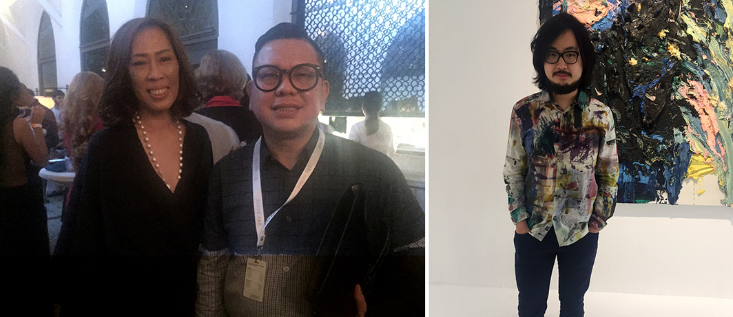 Left: Gwen Theresa The and Art Stage Jakarta director Leo Silitonga. Right: Collector Chong Zhou.