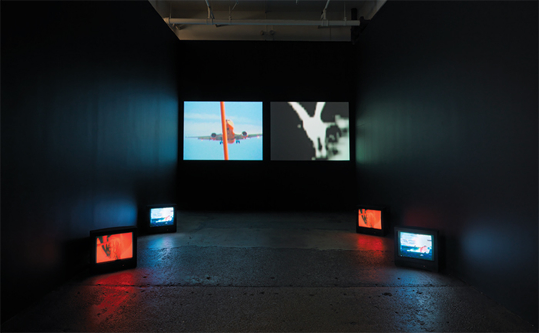 Carolee Schneemann, Devour, 2003–2004, multichannel video, color, sound, 3 minutes 37 seconds. Installation view. Galerie Lelong.