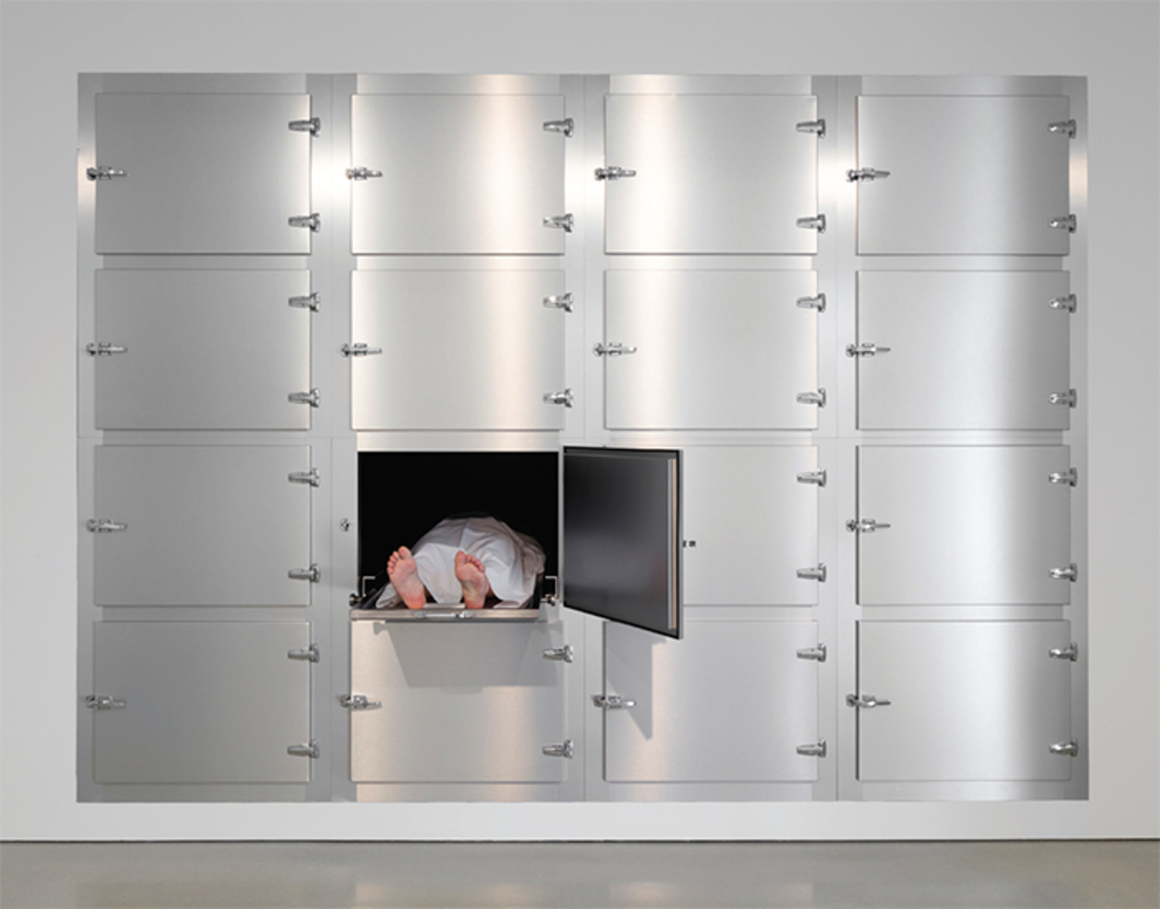 "Elmgreen & Dragset, Untitled (Morgue), 2011, mixed media, 11' 3"" × 15' × 7' 1 3/4""."