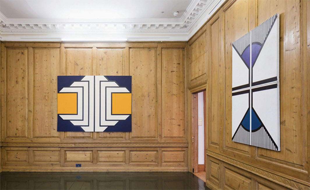 "View of ""Imre Bak,"" 2016. From left: Orange, 1969; Reflection III, 1974. Photo: Plastiques Photography."