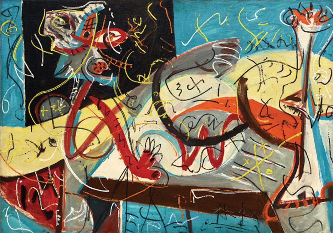 "Jackson Pollock, Stenographic Figure, ca. 1942, oil on linen, 40 × 56"". © Pollock-Krasner Foundation/Artists Rights Society (ARS), New York."