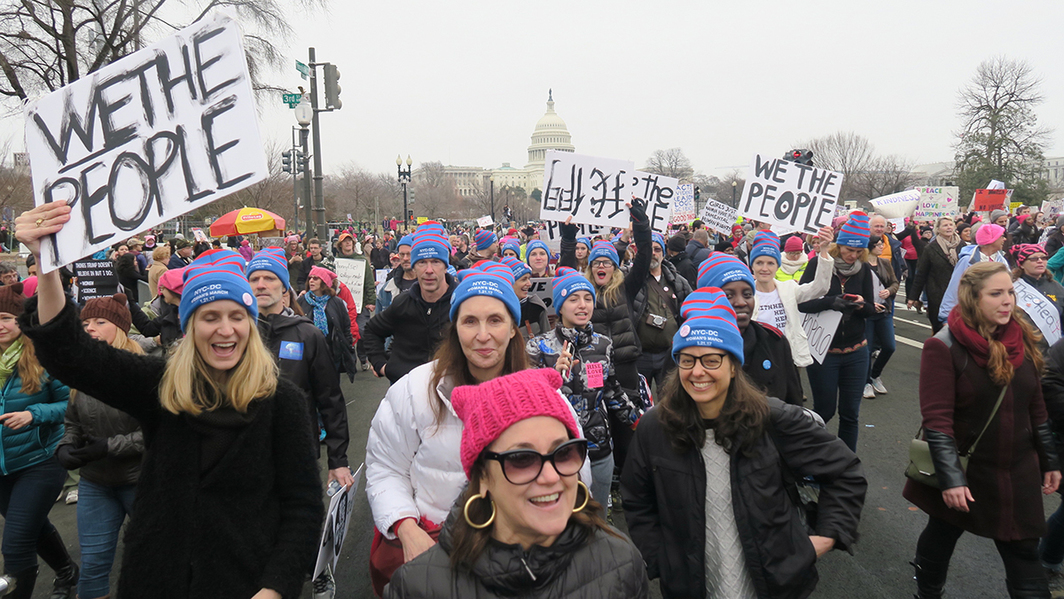 Bluehats on the march: (front) producer Sharon Oreck; second row, dealer Rhiannon Kubicka and artists Laurie Simmons and Tina Hejtmanek; third row, financial advisor Billy Dobbins, artist Tom Burr, Coco Rohatyn, writer Andrianna Campbell; fourth row, designer Malia Mills, Art Production Fund cofounder Yvonne Force Villareal, and dealer Jeanne Greenberg Rohatyn. (Except where noted, all photos: Linda Yablonsky)