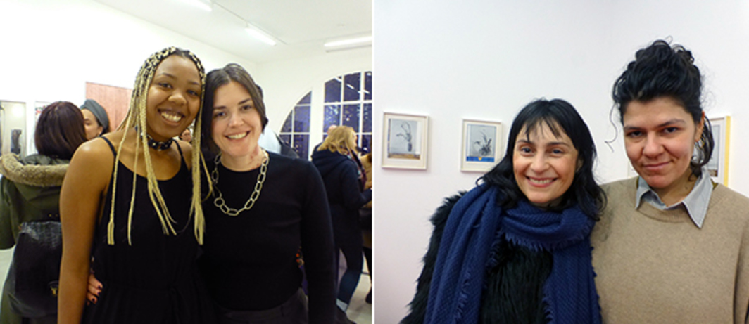 Left: Artist Martine Syms with dealer Bridget Donahue, hosted by Sadie Coles. Right: Dealers Jaqueline Martins and Sylvia Kouvali at Rodeo. (All photos: Kate Sutton)