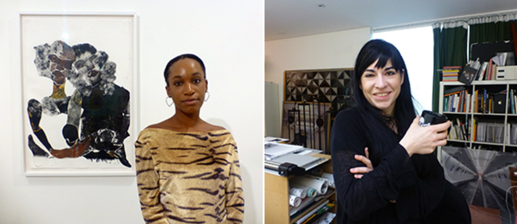 Left: Artist Tschabalala Self at Parasol Unit. Right: Artist Jasmina Cibic.