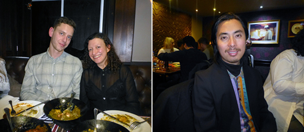 Left: Dealer Max Mayer with curator Francesca Gavin at Tayyab's. Right: K11 curator Victor Wang at Tayyab's.