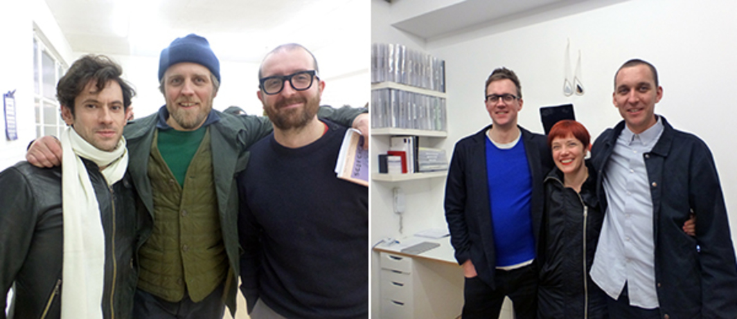 Left: Dealers Nick Hackworth, Carl Kostyal, and Dave Hoyland at The Sunday Painter. Right: The Sunday Painter's Tom Cole and Will Jarvis with artist Emma Hart.