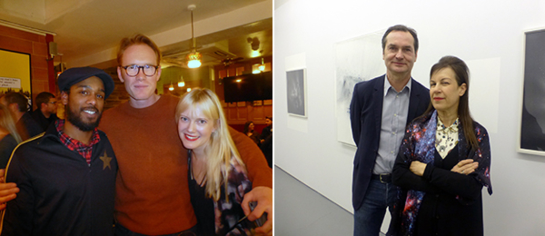 Left: Lloyd Corporation's Ali Eisa and Sebastian Lloyd Rees with Ingrid Moe at the Union Club. Right: dépendance's Michael Callies with dealer Maureen Paley.