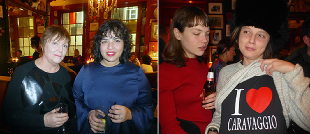 Left: mother's tankstation's Finola Jones with Carlos Ishikawa's Vanessa Carlos at The Union Club. Right: Artist Issy Wood with Hauser and Wirth's Selvi May Akyıldız at the Union Club.