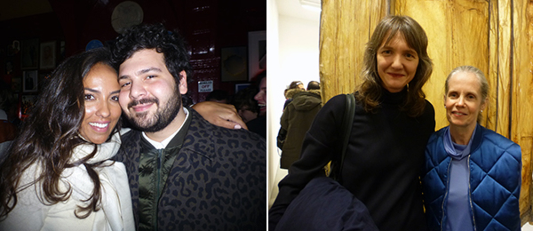 Left: Art Basel's Alia Al-Senussi with MCA Chicago's Omar Kholeif at The Union Club. Right: Chisenhale's Polly Staple and dealer Pauline Daly at Sadie Coles.