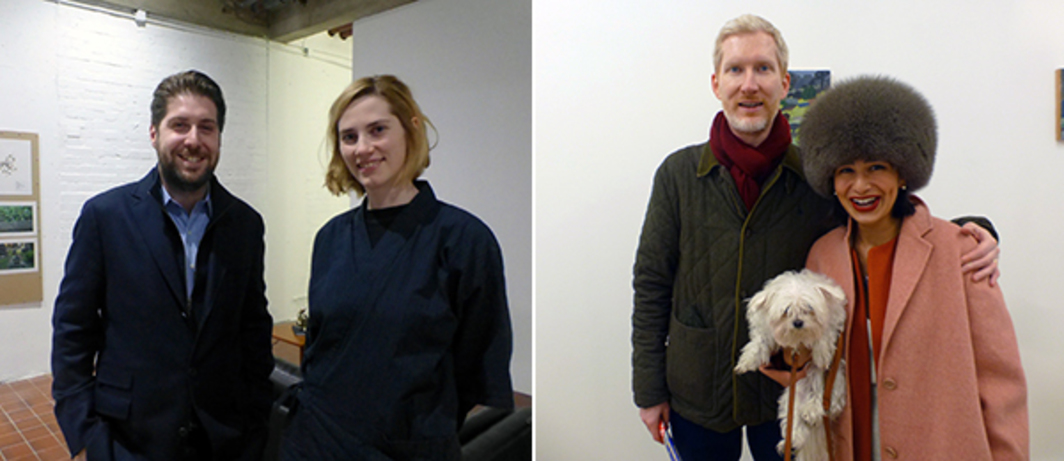 Left: Chewdays' Tobias Czudej with Max Mayer's Gloria Hasnay. Right: Architecture critic Brendan McGetrick and Zain Masud at Southard Reid.