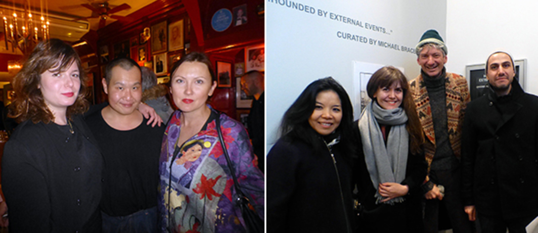 Left: Emma Astner, Stephan Tanbin Sastrawidjaja, and Olga Temnikova at The Union Club. Right: Clara Kim, Isabella Maidment, Andrea Lissoni, and Vassilis Oikonomopoulos at Maureen Paley.