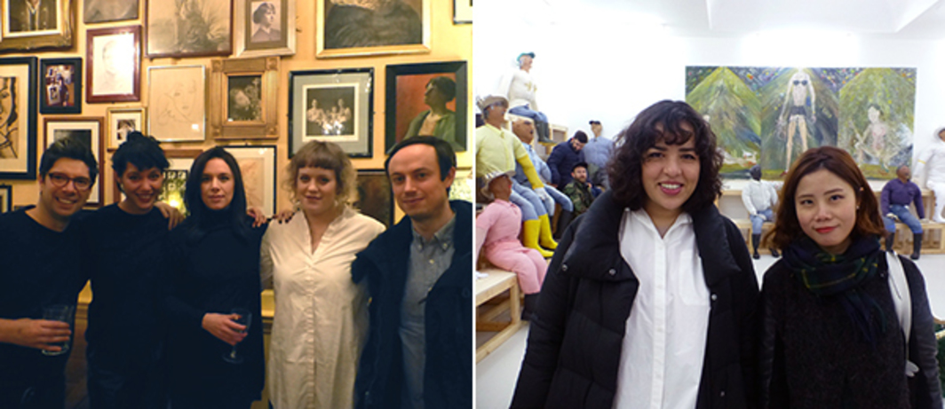 Left: Gaswork's Alessio Antoniolli, Serpentine's Amal Khalaf, and Rebecca Lewin (second from right) with artists Cécile B. Evans and Yuri Pattison at The Union Club. Right: Carlos Ishikawa's Vanessa Carlos and ShanghART Serein Liu at Carlos Ishikawa.