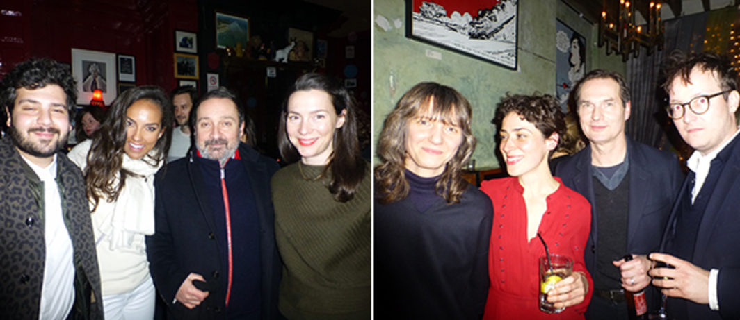 Left: Omar Kholeif, Alia Al-Senussi, Gregor Muir, and Victoria Siddall at the Union Club. Right: Polly Staple, artist Rosalind Nashashibi, dépendance's Michael Callies, and Portikus's Fabian Schöneich at The Union Club.