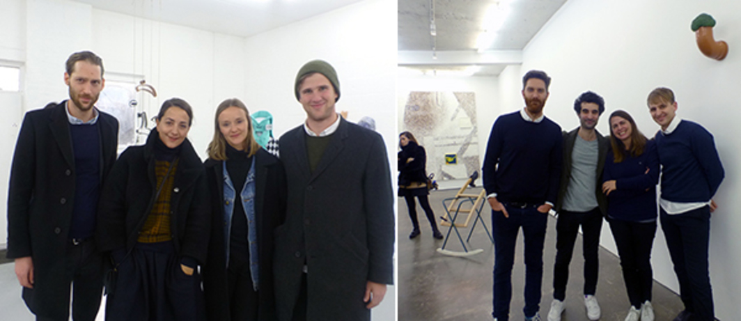 Left: Dealer Gregor Staiger, designer Marie Lusa and Emalin's Angelina Volk and Leopold Thun at Emalin. Right: Dealers Andrew Hamilton, Nicky Verber, Tanya Leighton and Simon Gowing at Herald St.