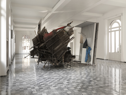 Peter Buggenhout, The Blind Leading the Blind #65, 2014, iron, wood, aluminum, rubber, polyurethane, fabric, 32 x 19 1/2'.