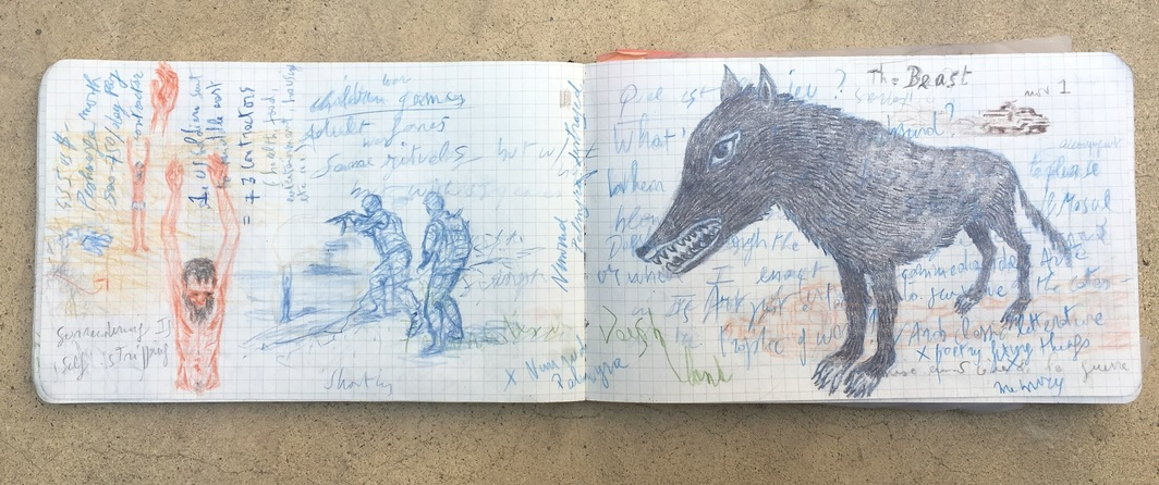 "Spread in Francis Alÿs's notebook from his embedment in Mosul, 2016, pencil on paper, 6 x 16""."