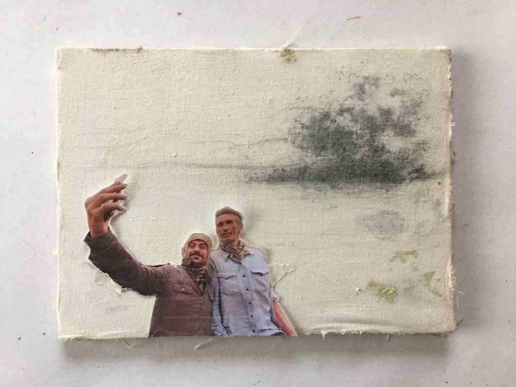 "Francis Alÿs, untitled, Mosul (selfie), 2016, pencil and photo on canvas, 5 x 6""."