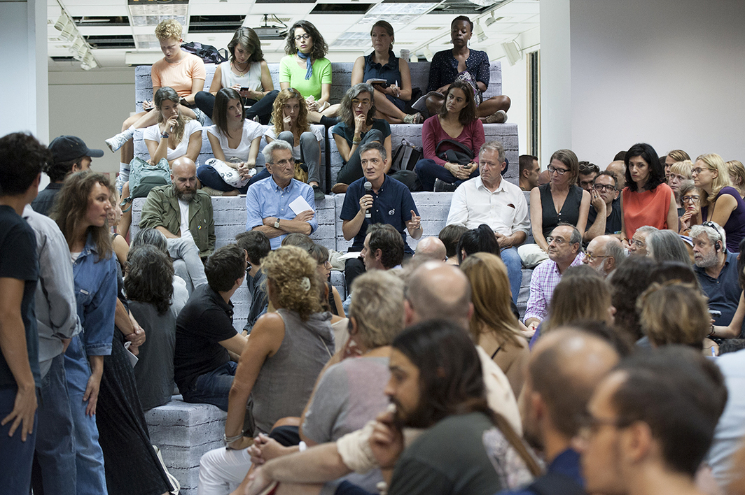 Andreas Angelidakis, Antonio Negri, and Paul B. Preciado at the opening of the Public Programs of Documenta 14 at Parko Eleftherias, September 14, 2016. Photo: Stathis Mamalakis.