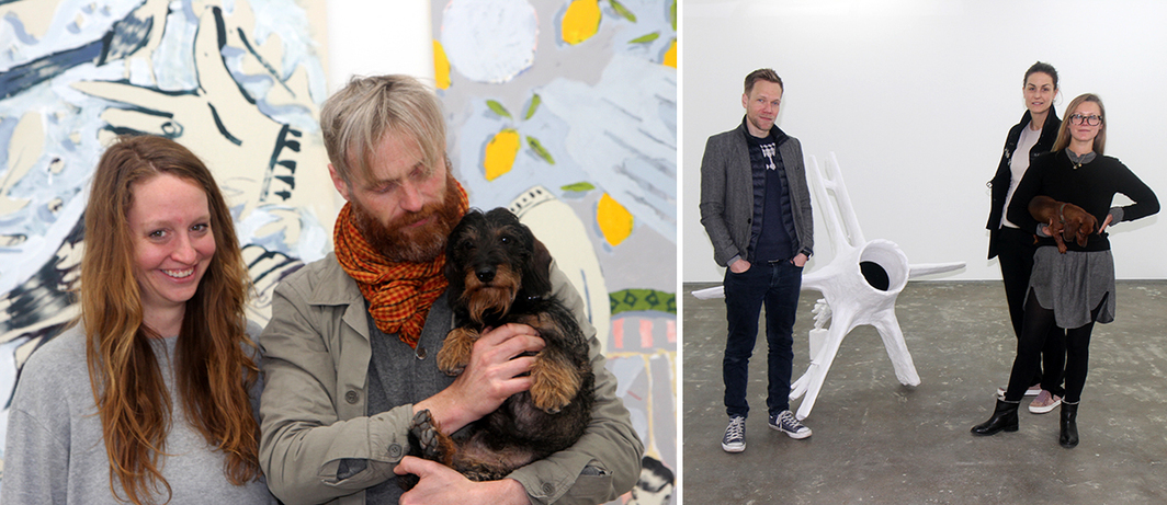 Left: Mary Grace Wright, dealer Eivind Furnesvik, and Girko. Right: OSL Contemporary manager Magnus Jorde with OSL Contemporary directors Emilie Magnus and Aurora Aspen and Sonja. (All photos: Cat Kron)