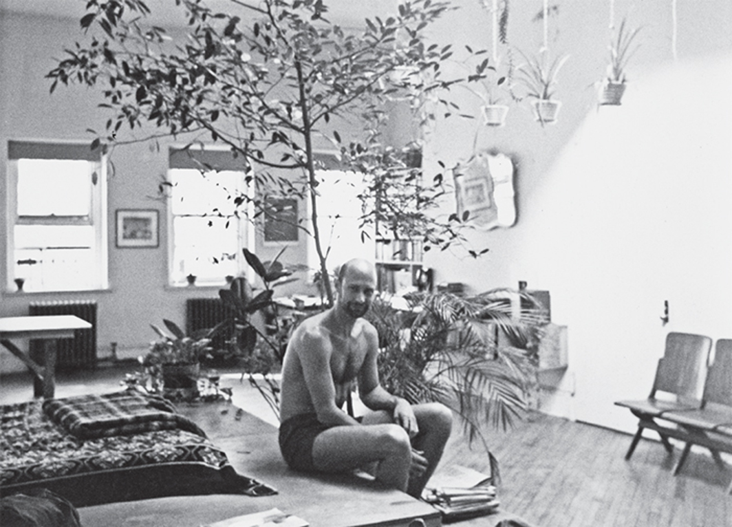 Douglas Crimp in his Chambers Street loft, New York, ca. 1975.