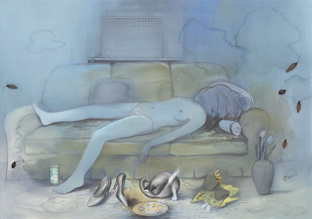 "Brandi Twilley, Napping by the AC, 2016, oil on canvas, 60 × 84""."