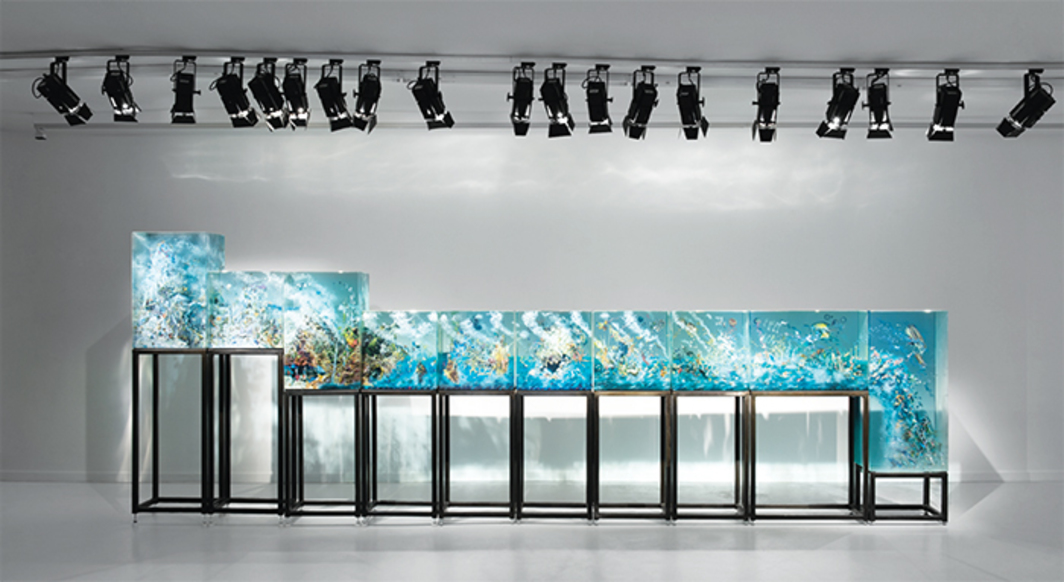 "Dustin Yellin, 10 Parts, 2015–16, glass, collage, acrylic paint, 3' 11 1/2"" × 20' 4 3/4"" × 1' 4 3/4""."