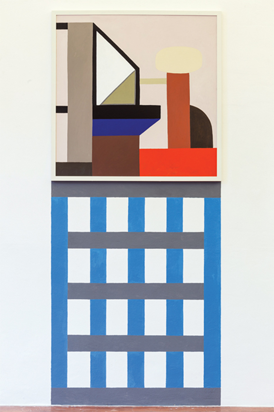 "Nathalie Du Pasquier, BRR 10, 2016, oil on canvas, acrylic on wall, 93 3/4 × 39 3/8""."
