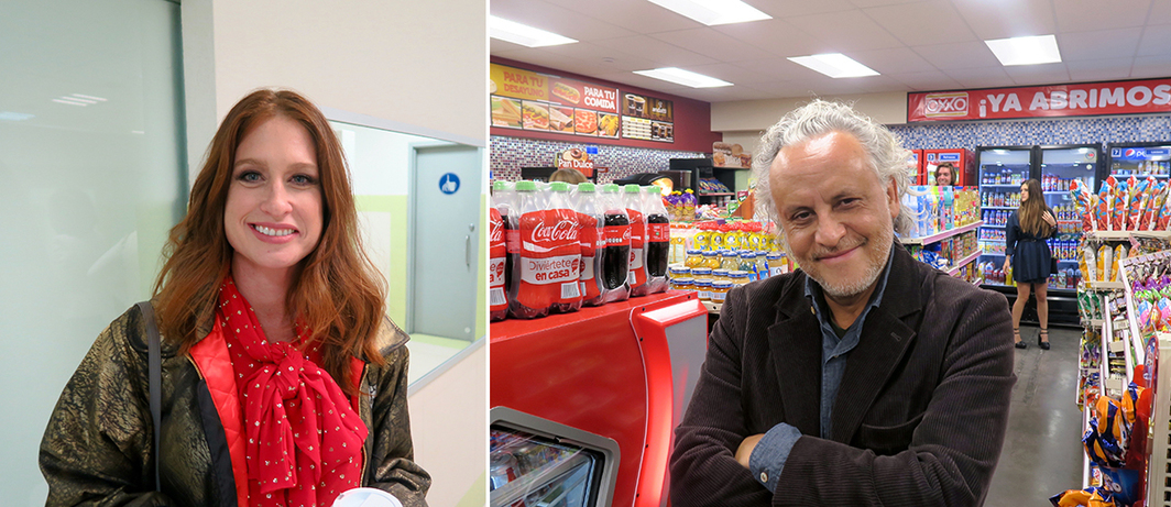 Left: Zona Maco founder Zélika Garcia. Right: Artist Gabriel Orozco in his appropriation of an OXXO store. (All photos: Linda Yablonsky)