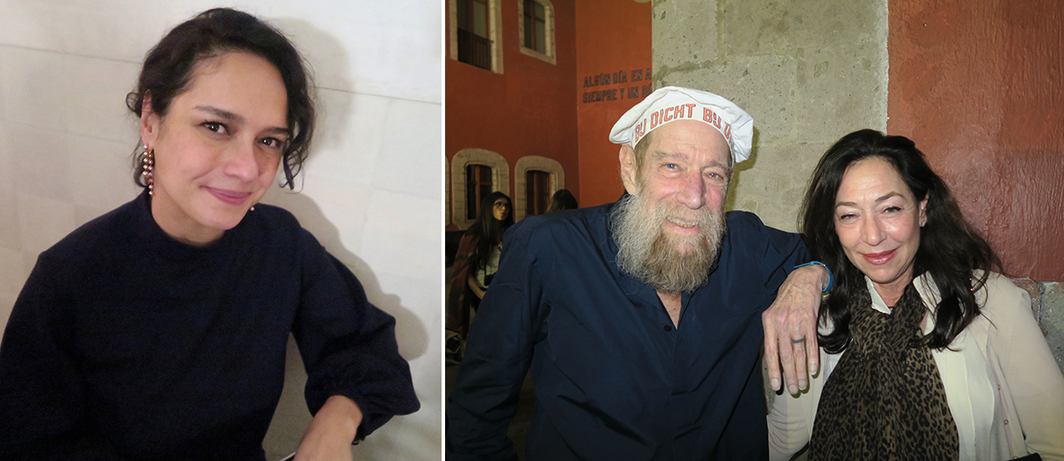 Left: Dealer Pamela Echeverria. Right: Artist Lawrence Weiner and dealer Shaun Caley Regen.