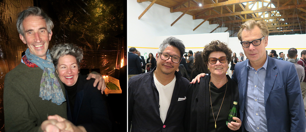 Left: Artist Francis Alÿs and dealer Bella Hubert. Right: Architect Kulapat Yantrasast, dealer Chantal Crousel, and LA MoCA director Philippe Vergne.