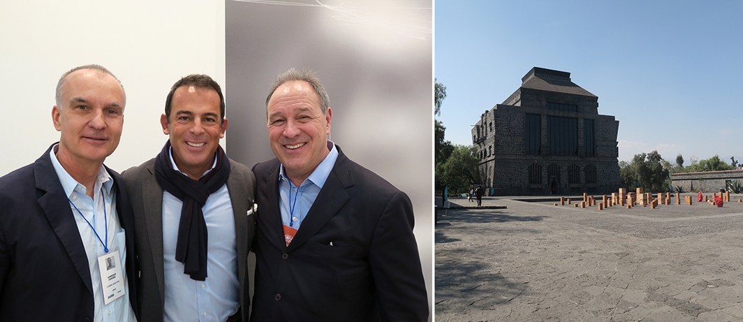 Left: Dealer Lawrence Luhring with collector Eugenio López Alonso and dealer Roland Augustine. Right: Artist Bosco Sodi's installation outside the Museo Anahuacalli-Diego Rivera.