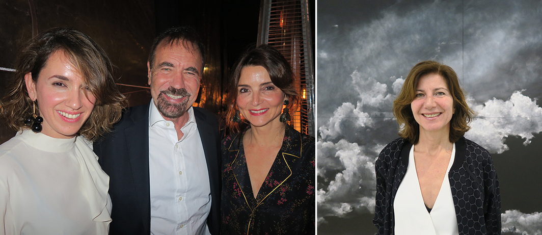 Left: Dealer Inés López-Quesada with collector Jorge Pérez and dealer Silvia Ortiz. Right: Dealer Stefania Bortolami.