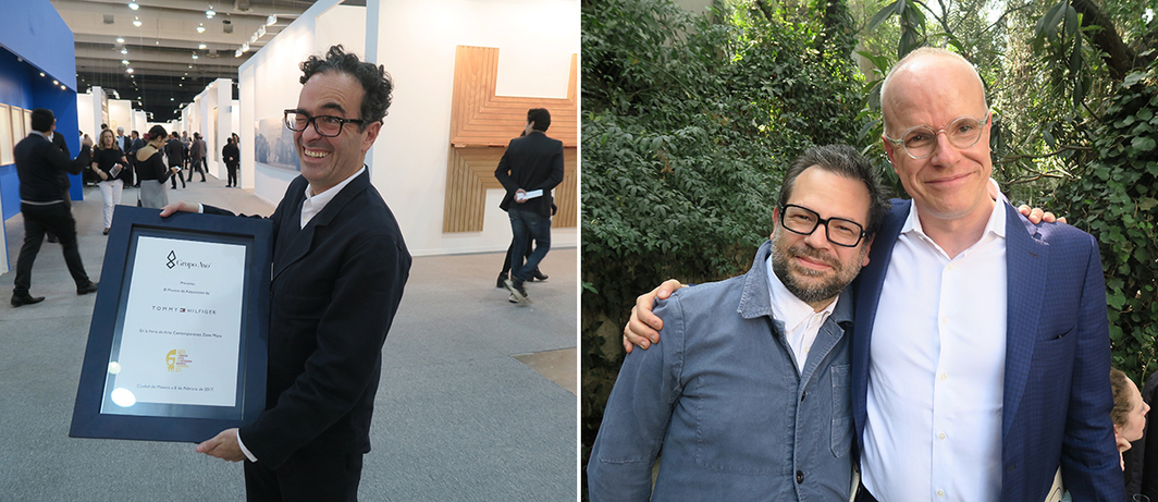 Left: Dealer José Kuri. Right: Artist Pedro Reyes and Serpentine Gallery artistic director Hans Ulrich Obrist.