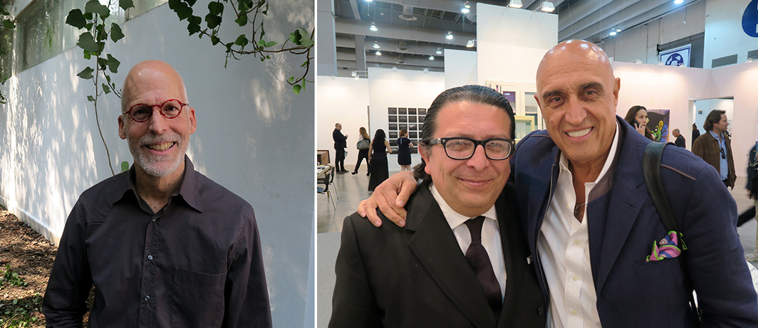 Left: Artist B. Wurtz. Right: Dealer Hilario Galguerra and television producer Pedro Torres.