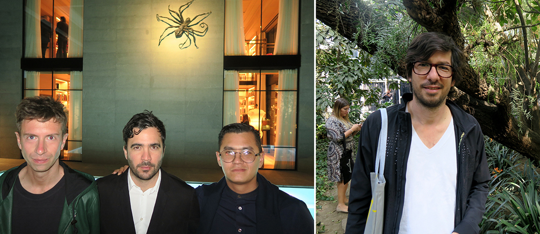 Left: Mousse publications editor Stefano Cernuschi, SCAD exhibitions curator Humberto Moro, and MCA Chicago curator José Esparza Chong Cuy. Right: Artist Mario Garcia Torres.